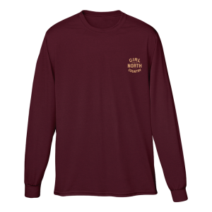 Girl from the North Country Logo Long Sleeve Burgundy Tee